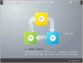 五色透明水晶时尚立体三项立方循环关系PPT图表