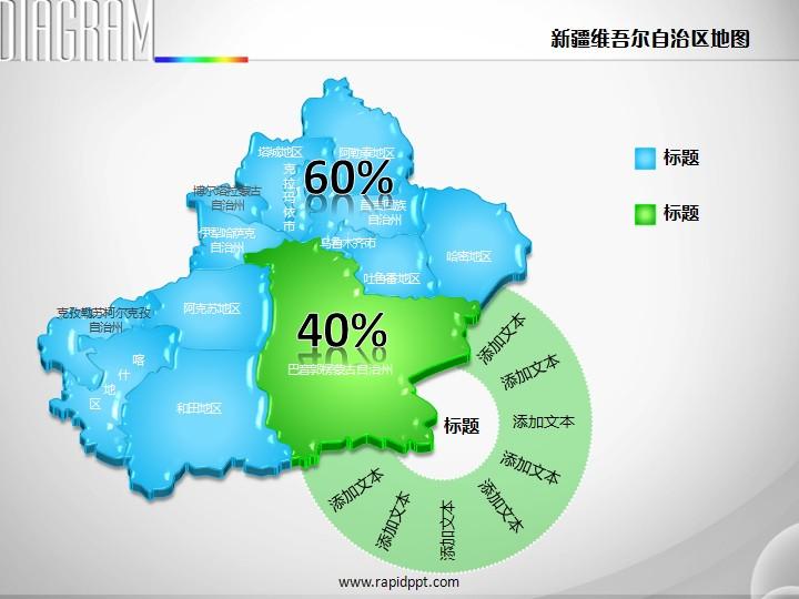 3d立体矢量新疆维吾尔族自治区地图ppt图表