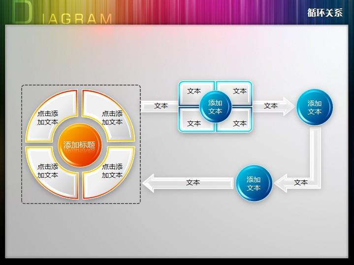 四步骤多节点循环流程图ppt图表