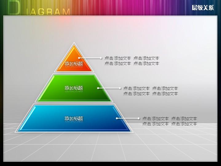 三层平面金字塔层级关系PPT图表