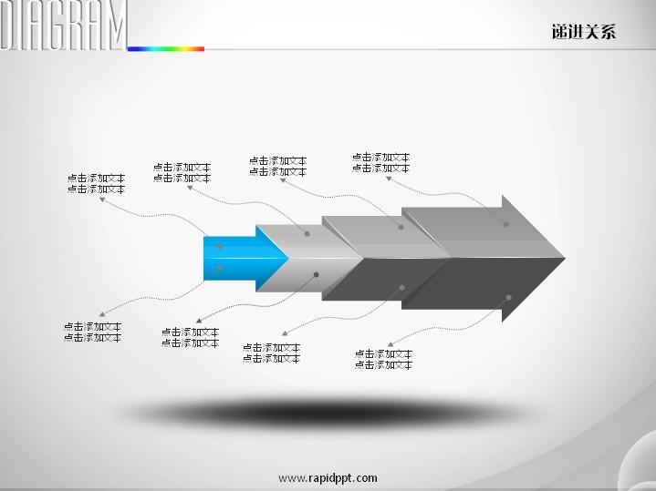 四立体箭头层层推导递进关系ppt图表