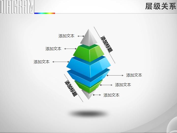 反方向对立六层金字塔层级关系ppt图表