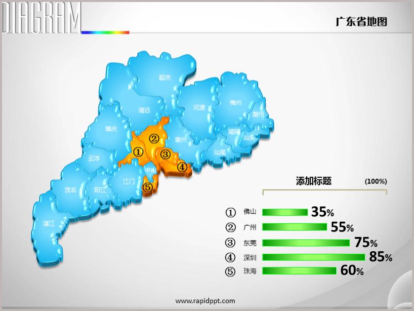 3d立体市县矢量广东省地图ppt图表