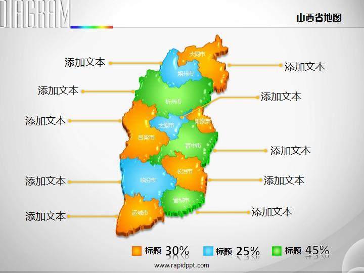3d立体市县矢量山西省地图ppt图表