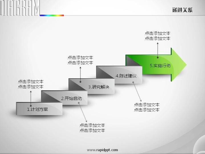 折纸样式箭头流程图递进关系ppt图表