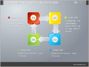 五色透明水晶时尚立体四项立方循环关系PPT图表