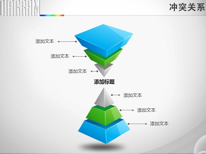 双立体三层金字塔对比冲突关系ppt图表