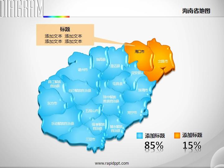 3d,立体,市县图,矢量,海南省,地图,ppt图表