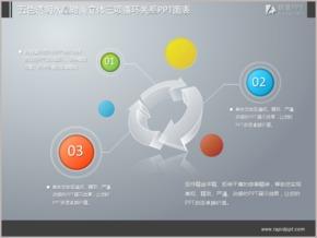 五色透明水晶时尚立体三项循环关系PPT图表