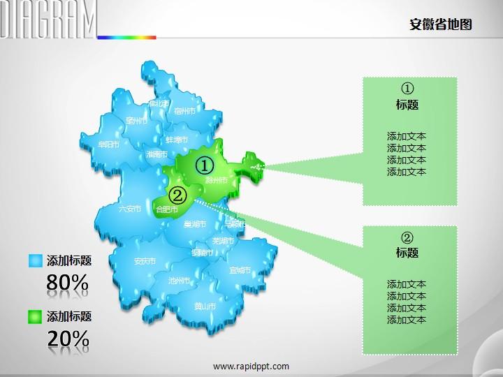 3d立体市县矢量安徽省地图ppt图表