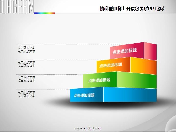 楼梯型阶梯上升层级关系ppt图表