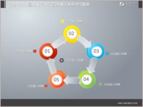 五色透明水晶时尚立体五圆饼循环关系PPT图表