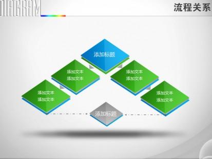 立体板状正方体依次递进流程图ppt图表