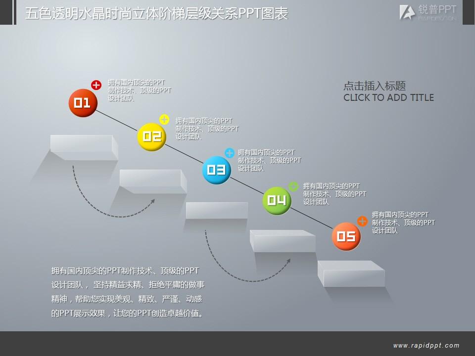 五色透明水晶时尚立体阶梯层级关系ppt图表