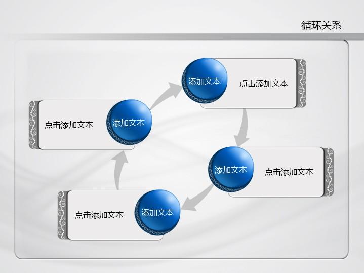蓝色商务蕾丝花纹四圆循环ppt图表