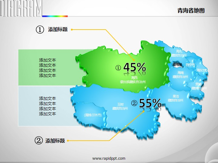 3d立体市县矢量青海省地图ppt图表