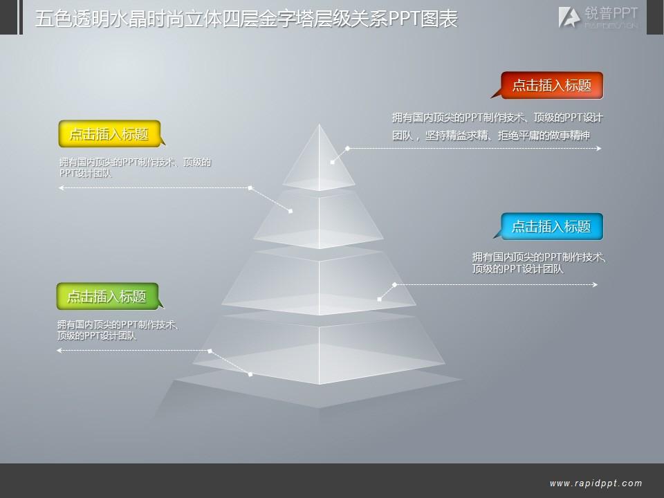 五色透明水晶时尚立体四层金字塔层级关系ppt图表