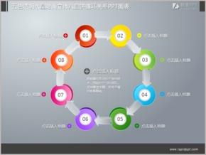 五色透明水晶时尚立体八圆饼循环关系PPT图表