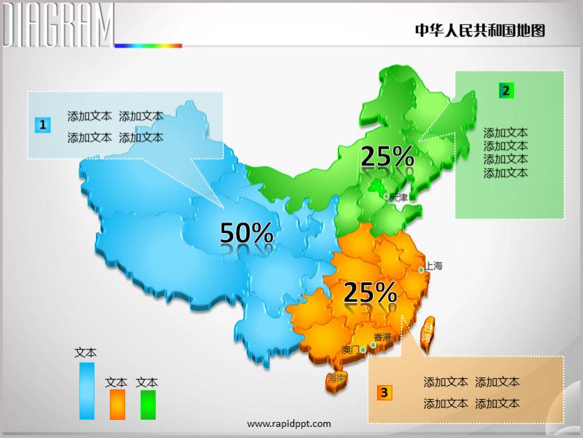 立体分大区矢量中国地图PPT图表下载–演界网