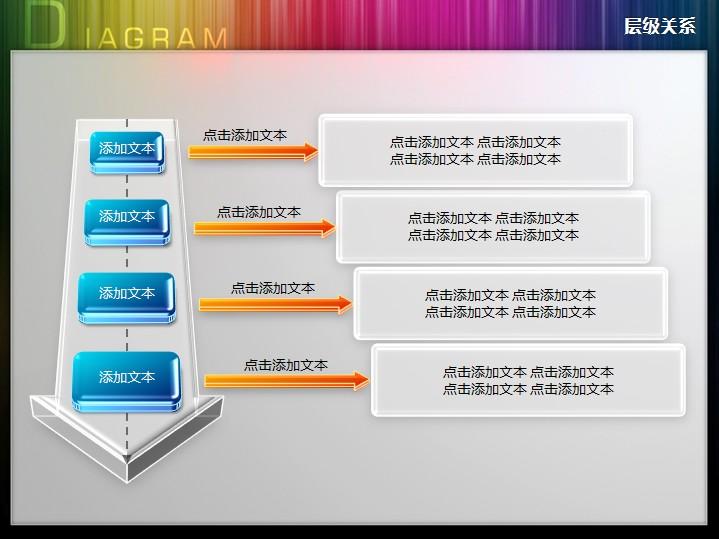 立体大箭头四阶段递进关系ppt图表