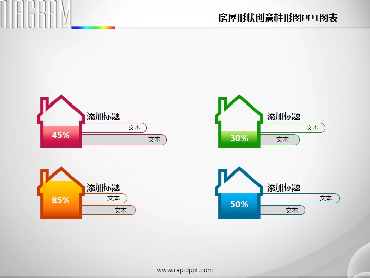 房屋形状创意柱形图ppt图表
