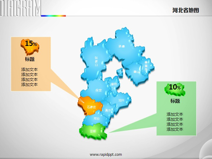 3d立体市县矢量河北省地图ppt图表
