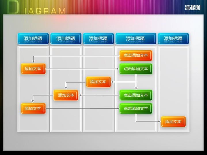 五过程水晶质感流程图ppt图表