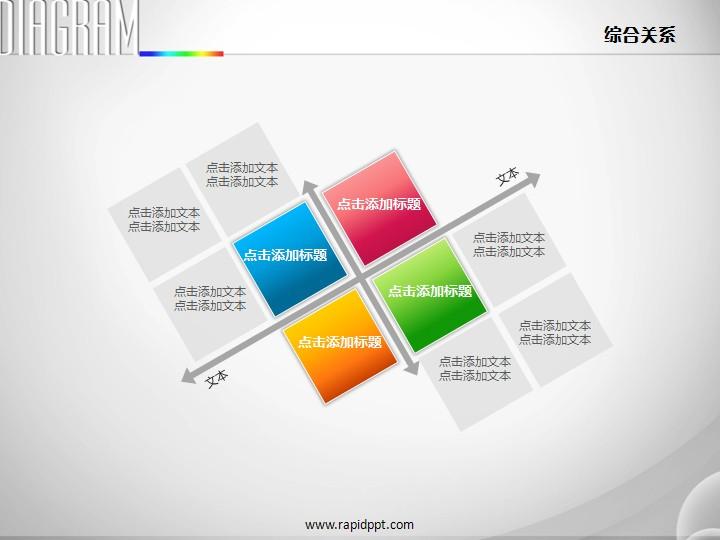 四象限红橙蓝绿并列扩散关系ppt图表