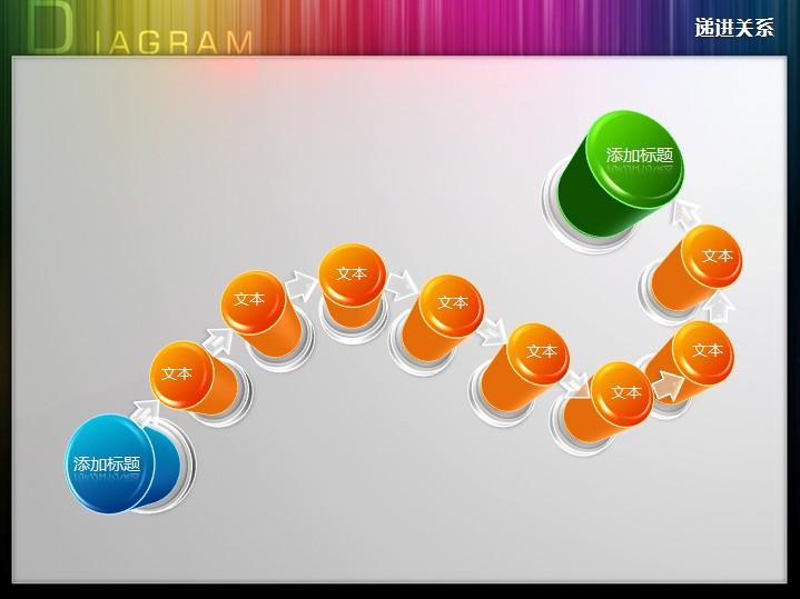 立体创意盘龙型流程图ppt图表