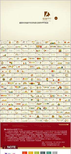 时尚欧美5色扁平化图表200张
