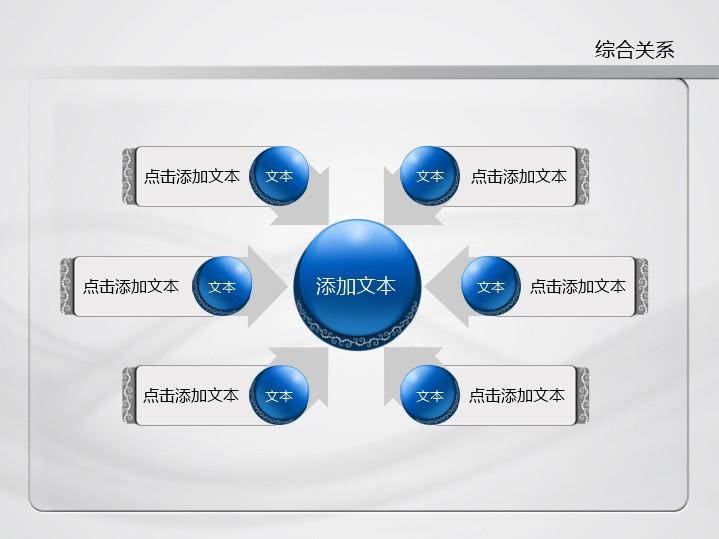 蓝色商务蕾丝花纹多圆综合关系ppt图表