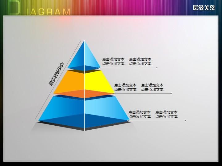 3d立體三層透明金字塔層級關系ppt圖表