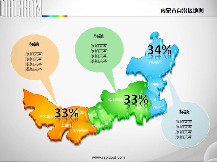 3d立体矢量内蒙古自治区地图ppt图表