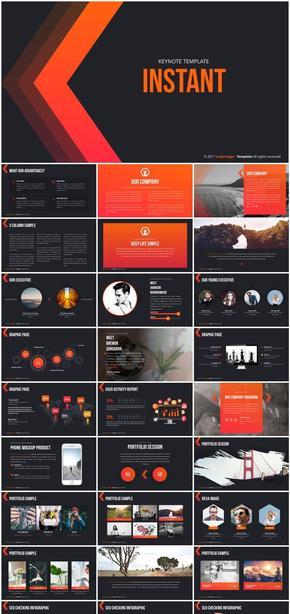 keynote橙红暖商业计划工作汇报模板