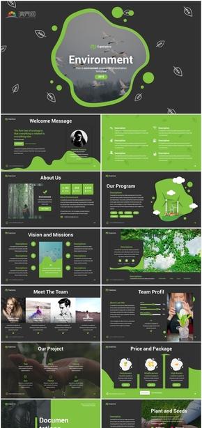 绿黑简约环境保护环保倡议宣传PPT模板