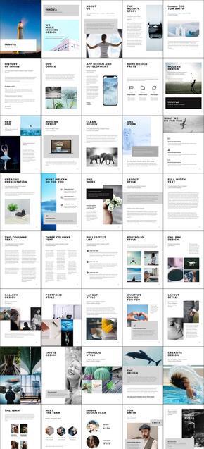 90页竖版简约画册欧式风格PPT模板