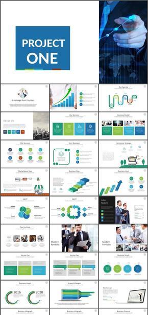 5色多彩keynote商业计划汇报总结模板