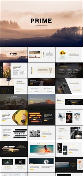 金色大气keynote画册风格商业计划汇报通用模板