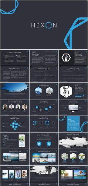 蓝黑沉稳商务风格汇报总结keynote模板