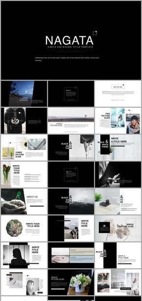 黑白简约杂志画册风格企业汇报模板