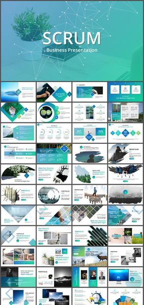 95页清新蓝绿商业计划书旗舰级PPT模板