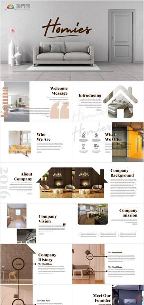创意深棕色建筑装饰装潢室内设计PPT模板