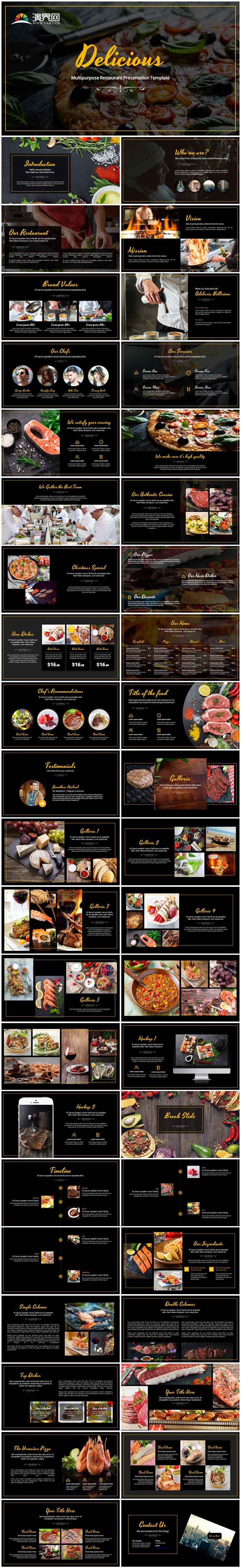 创意美食介绍餐饮行业餐厅宣传PPT模板