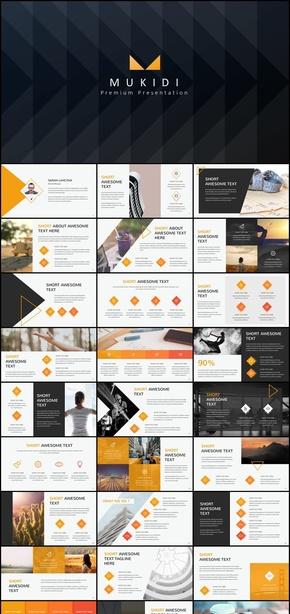 金色大气企业商务汇报总结PPT画册风格模板