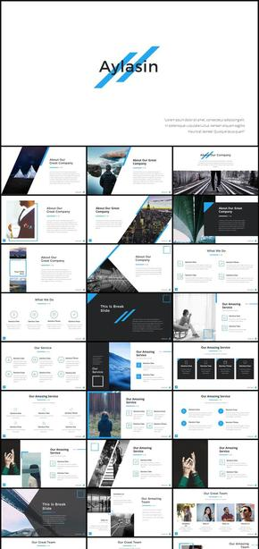 70页几何线条画册风格商业计划汇报总结PPT