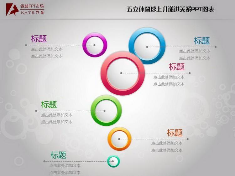 五立體圓球上升遞進關系ppt圖表