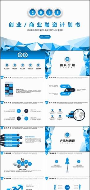 蓝色低面创业商业融资项目计划书PPT