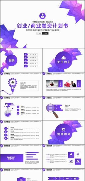 蓝紫渐变创业商业工作计划总结汇报PPT