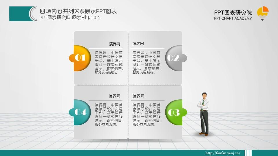四項內容并列關系展示ppt圖表(動畫)