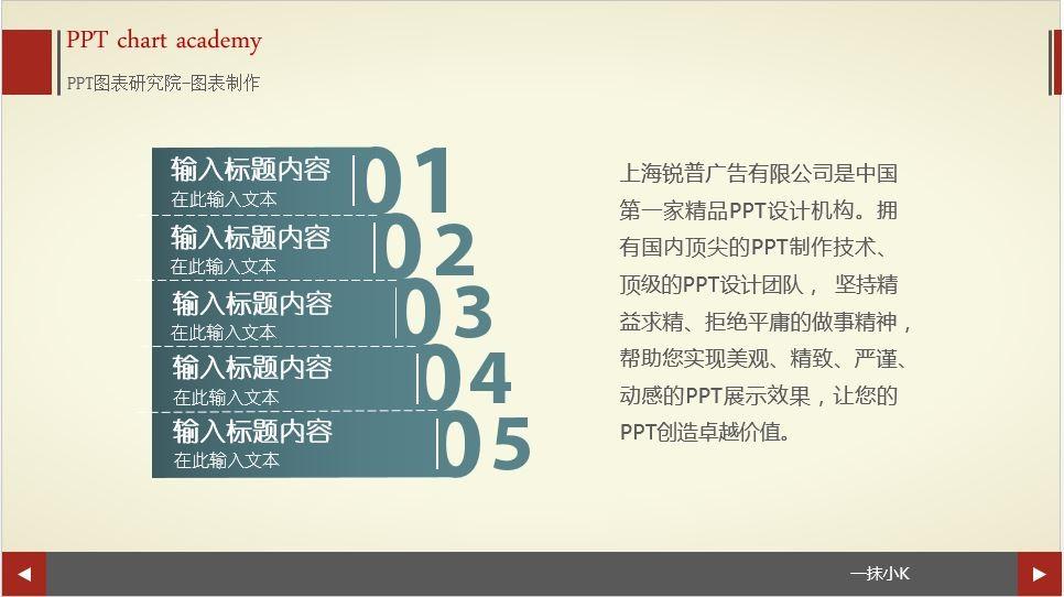 时尚清新并列五项目录ppt图表